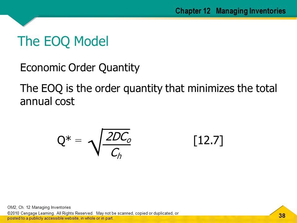√ The EOQ Model 2DCo Q* = [12.7] Ch Economic Order Quantity